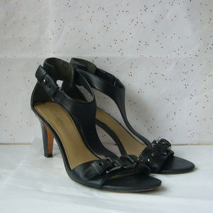 Via Spiga Black Leather T-strap Sandal Silver - 7M